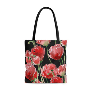 Seattle Pacific Northwest Red Tulip Flower Floral Designer Tote Bag - Made in USA-Tote Bag-Large-Heidi Kimura Art LLC