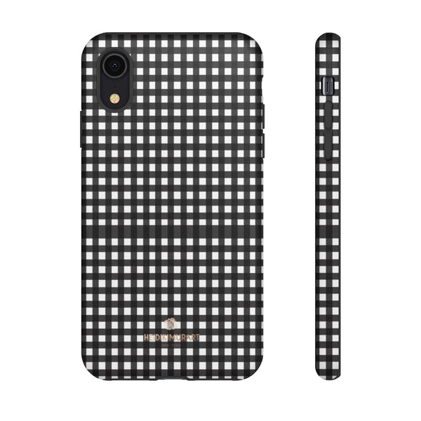Buffalo Plaid Print Phone Case, Black White Tough Designer Phone Case -Made in USA-Phone Case-Printify-iPhone XR-Matte-Heidi Kimura Art LLC