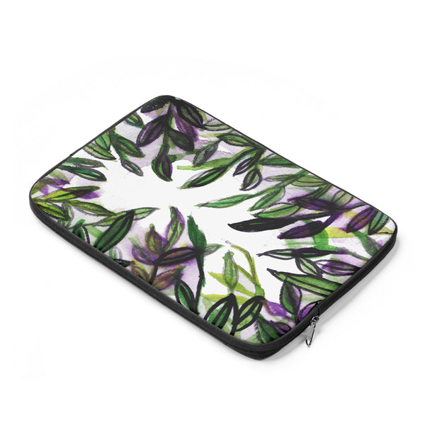 "Emerald Green Tropical Leaves Print 12', 13"", 14"" Laptop Sleeve Cover-Made in the USA-Laptop Sleeve-Heidi Kimura Art LLC"