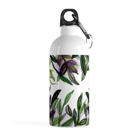 Green Purple Tropical Leaves Print Stainless Steel 14 oz Large Water Bottle - Made in USA-Mug-14oz-Heidi Kimura Art LLC