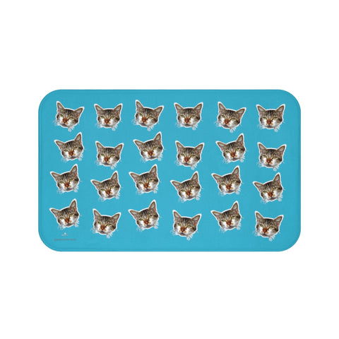Blue Cat Print Bath Mat, Calico Cat Premium Soft Microfiber Fine Bath Rug- Printed in USA-Bath Mat-Large 34x21-Heidi Kimura Art LLC