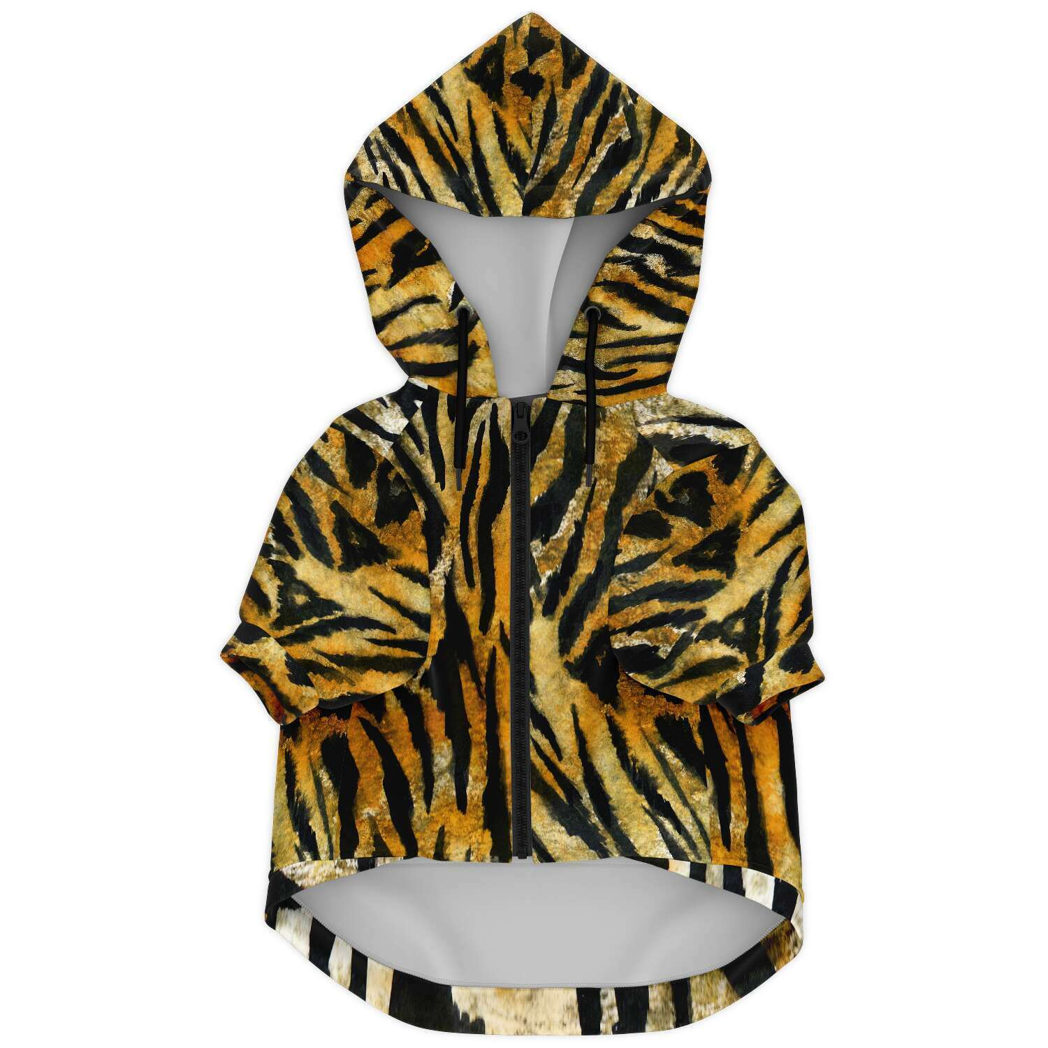 Tiger Stripe Print Dog Hoodie, Soft Comfortable Zip-Up Premium Hoodie For Dog Pet Owners-Athletic Dog Zip-Up Hoodie - AOP-Subliminator-XXS-Heidi Kimura Art LLC Tiger Stripe Print Dog Hoodie, Animal Print Soft Comfortable Zip-Up Premium Fashion Hoodie For Dog Pet Owners, For Tiny Small Dogs to Medium/ Large Size Dogs (Size: XXS-2XL)