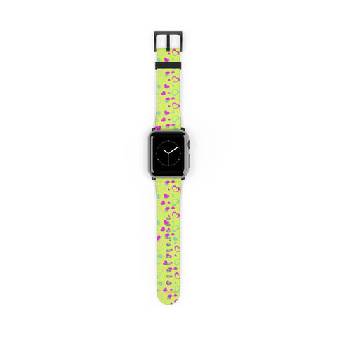 Light Green Pink Hearts Shaped Print Premium 38mm/ 42mm Watch Band- Made in USA-Watch Band-38 mm-Black Matte-Heidi Kimura Art LLC