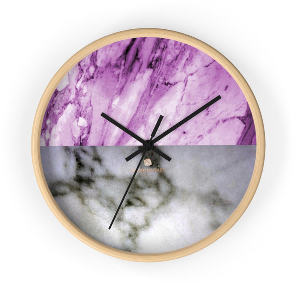 "Pink White Marble Print Art Large Indoor Designer 10"" dia. Wall Clock-Made in USA-Wall Clock-10 in-Wooden-Black-Heidi Kimura Art LLC"