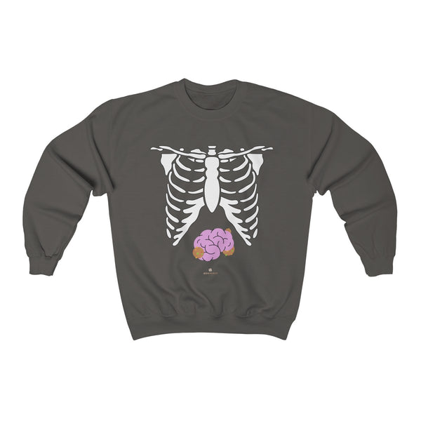 White Skeleton Torso Halloween Unisex Heavy Blend Crewneck Sweatshirt-Made in USA-Long-sleeve-Charcoal-S-Heidi Kimura Art LLC