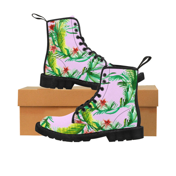 Chisato Designer Shabby Chic Vintage-Style Light Pink Floral Print Women's Nylon Canvas Winter Boots (US Size: 6.5-11)