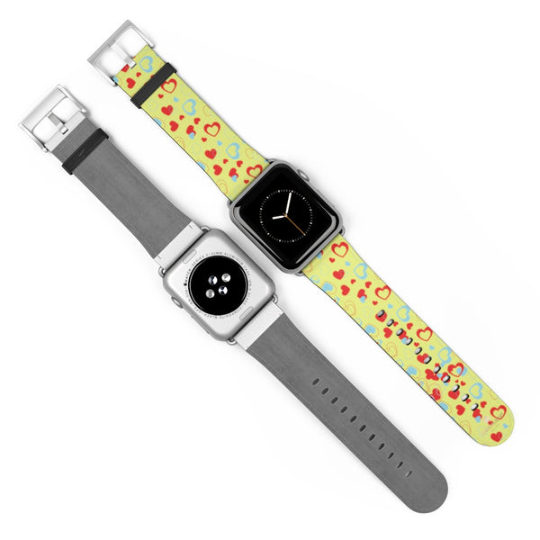 Light Yellow Red Hearts Shaped Valentines Day Print Premium 38mm/42mm Watch Band- Made in USA-Watch Band-Heidi Kimura Art LLC