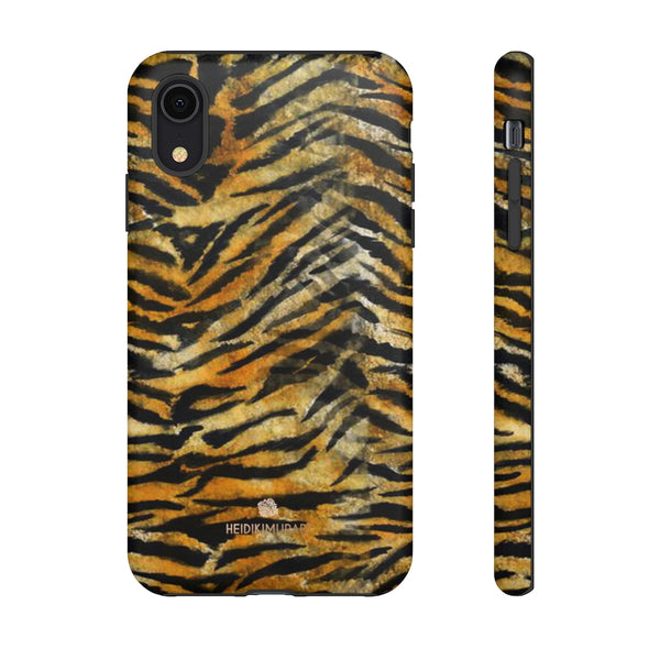 Orange Tiger Striped Phone Case, Animal Print Tough Cases, Designer Phone Case-Made in USA-Phone Case-Printify-iPhone XR-Matte-Heidi Kimura Art LLC