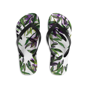 Green Tropical Leaves Print Unisex Designer Flip-Flops - Made in USA (Size: S, M, L)-Flip-Flops-Large-Heidi Kimura Art LLC