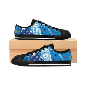 Blue American July 4th Statue Of Liberty Men's Low Top Sneakers Tennis Running Shoes-Men's Low Top Sneakers-Black-US 9-Heidi Kimura Art LLC Blue July 4th Men's Sneakers, Blue American July 4th Statue Of Liberty Men's Low Top Sneakers Tennis Running Shoes (US Size: 6-14)