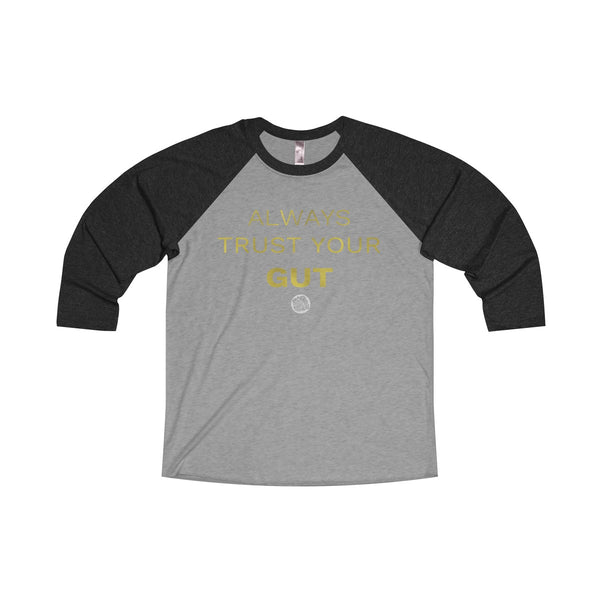Motivational Unisex Tee, Tri-Blend 3/4 Raglan T-Shirt With Inspirational Quote -Made in USA-Long-sleeve-S-Vintage Black / Premium Heather-Heidi Kimura Art LLC