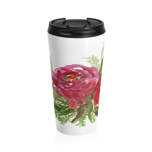 Red Light Rose Floral Print Stainless Steel 15 oz Travel Mug - Made in the USA-Mug-Travel Mug-Heidi Kimura Art LLC