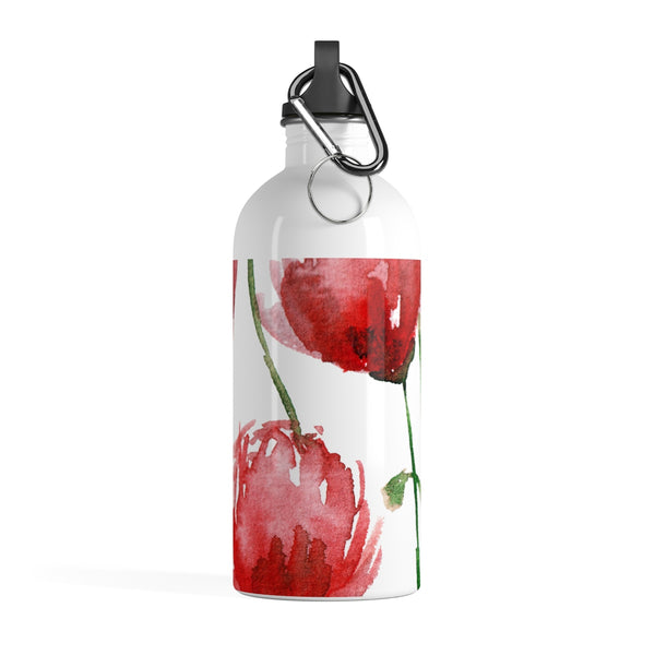 Red Poppy Flower Floral Print Full Size Light Stainless Steel 14 oz. Water Bottle - Made in USA-Mug-14oz-Heidi Kimura Art LLC