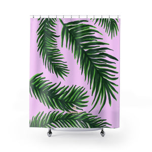 "Cute Pink Green Tropical Jungle Palm Tree Leaf Print Shower Curtains- Printed in USA-Shower Curtain-71"" x 74""-Heidi Kimura Art LLC Pink Green Shower Curtains, Pink and Green Tropical Tree Palm Leaf Print Designer Shower Curtains - Printed in USA, Premium Bathroom Shower Curtains, Home Decor, Large 100% Polyester 71x74 inches Shower Curtains, Bathroom Shower Curtains, Jungle Hawaiian Summer Nature Print"