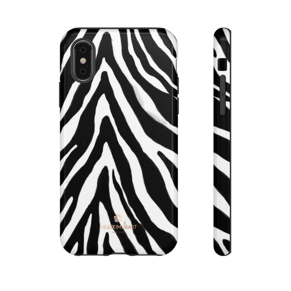 Zebra Stripe Phone Case, Animal Print Tough Designer Phone Case -Made in USA-Phone Case-Printify-iPhone XS-Glossy-Heidi Kimura Art LLC