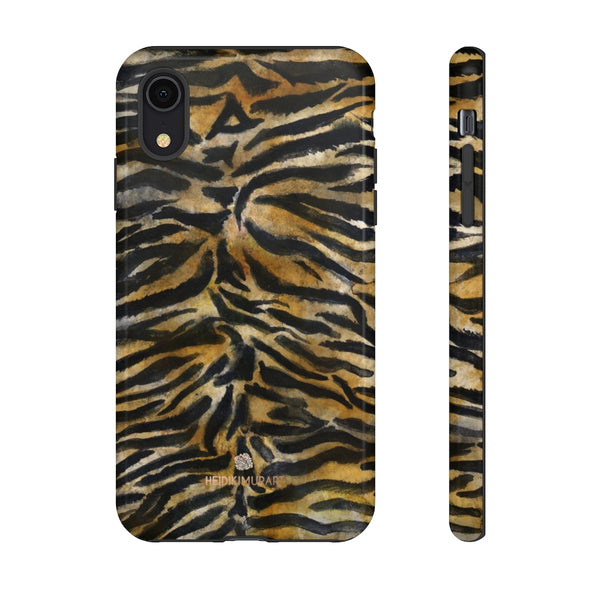 Brown Tiger Striped Tough Cases, Animal Print Best Designer Phone Case-Made in USA-Phone Case-Printify-iPhone XR-Glossy-Heidi Kimura Art LLC