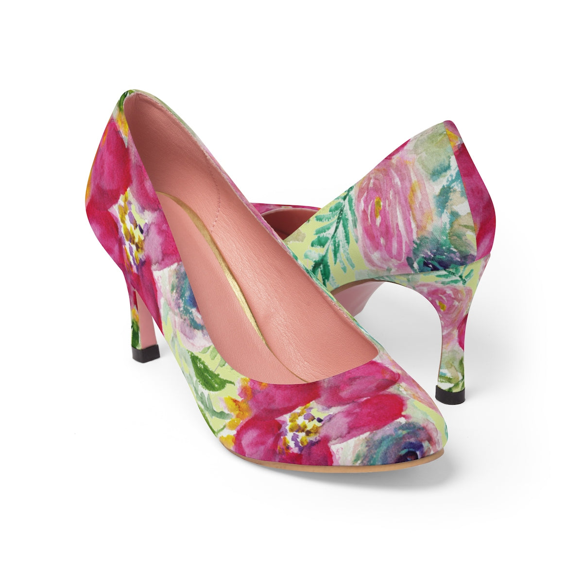 "Charming Rose Floral Print Bridal Style Women's Designer 3"" High Heels Shoes-3 inch Heels-US 7-Heidi Kimura Art LLC"