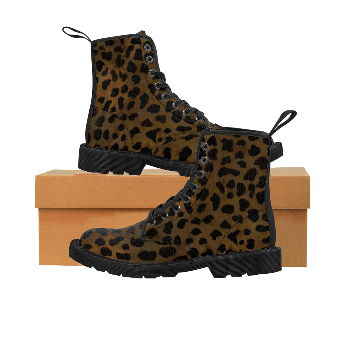 Brown Leopard Animal Print Women's Winter Laced-Up Nylon Canvas Boots (US Size: 6.5-11)-Women's Boots-Black-US 9-Heidi Kimura Art LLC Brown Leopard Women's Boots, Brown Leopard Animal Print Women's Winter Laced-Up Nylon Canvas Boots (US Size: 6.5-11)