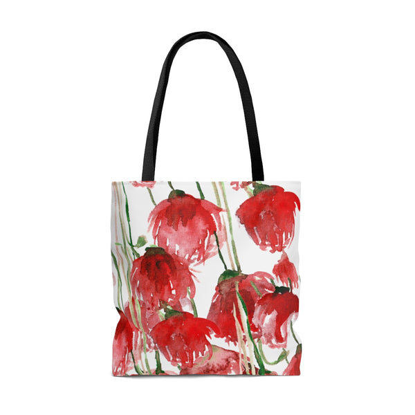 White Pacific Northwest Red Tulip Flower Floral Print Designer Tote Bag - Made in USA-Tote Bag-Heidi Kimura Art LLC