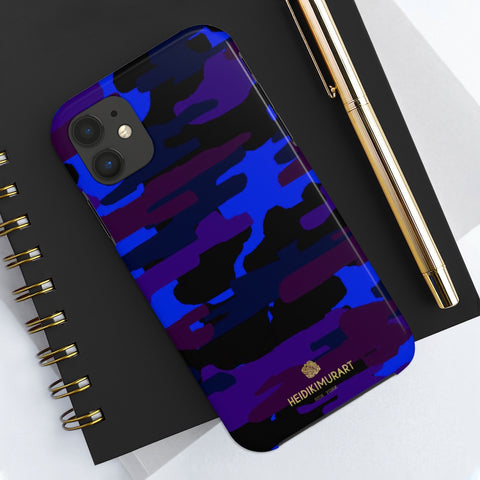 Purple Blue Camo Print Phone Case, Army Military Case Mate Tough Phone Cases-Made in USA - Heidikimurart Limited  Purple Blue Camo Print Phone Case, Army Military Camouflage Army Military Print Sexy Modern Designer Case Mate Tough Phone Case For iPhones and Samsung Galaxy Devices-Printed in USA