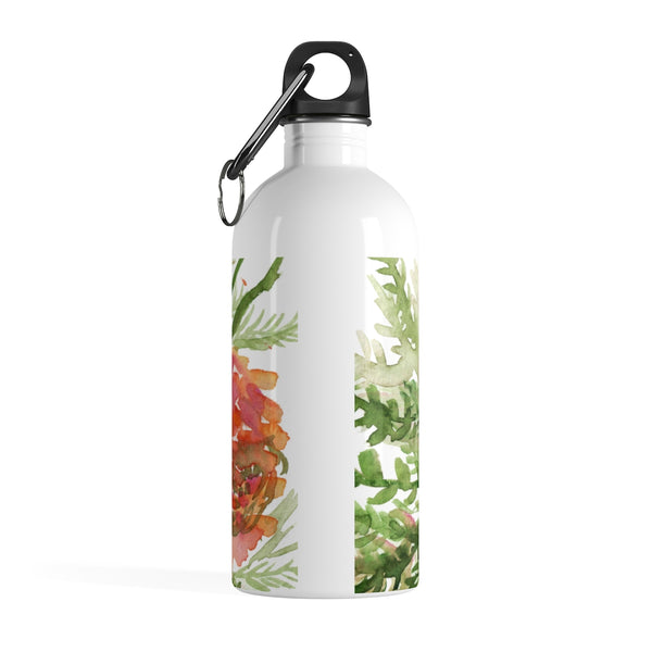 Red Orange Roses Spring Floral Print Stainless Steel 14 oz. Water Bottle - Made in USA-Mug-14oz-Heidi Kimura Art LLC