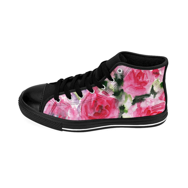 Floral Rose Print Women's High Top Designer Sneakers Running Shoes (US Size: 6-12)-Women's High Top Sneakers-Heidi Kimura Art LLC Floral Rose Women's Sneakers, Floral Rose Print Women's High Top Designer Sneakers Running Shoes (US Size: 6-12)