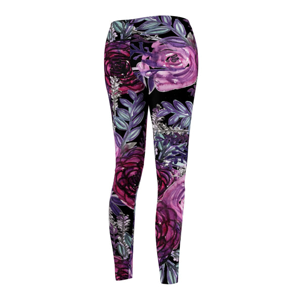 Rose Wreath Floral Rose Flower Print Women's Tights / Casual Leggings - Made in USA-Casual Leggings-Heidi Kimura Art LLC