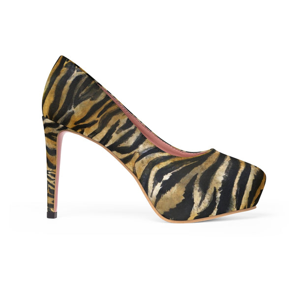 "Brown Tiger Stripe Print Women's Heels, Animal Print 4"" Platform Pumps High Heels Shoes-4 inch Heels-Heidi Kimura Art LLC"