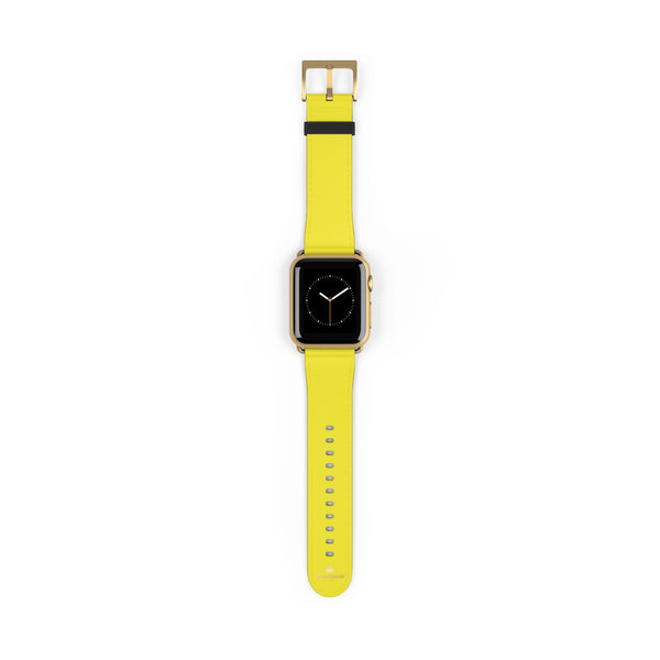 Yellow Solid Color 38mm/42mm Watch Band Strap For Apple Watches- Made in USA-Watch Band-38 mm-Gold Matte-Heidi Kimura Art LLC
