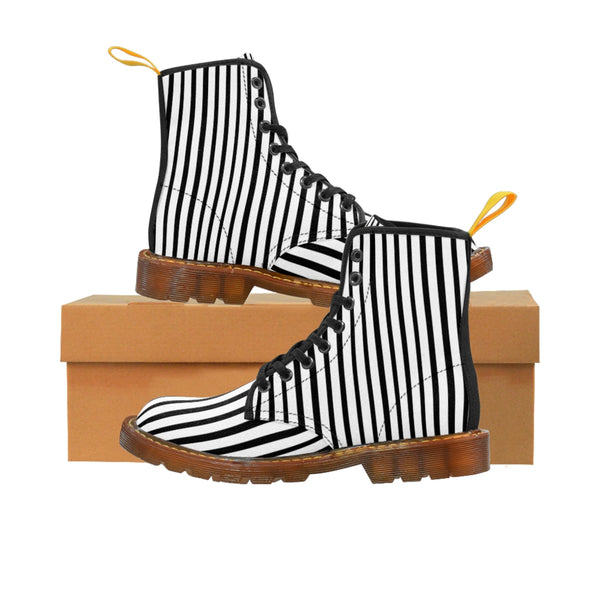Black Striped Print Men's Boots, Black White Stripes Best Hiking Winter Boots Laced Up Shoes For Men-Shoes-Printify-Brown-US 8-Heidi Kimura Art LLC