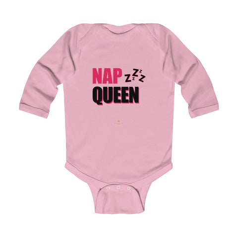 Cute Nap Queen Pink Baby Girls Infant Kids Long Sleeve Bodysuit -Made in USA-Infant Long Sleeve Bodysuit-Pink-18M-Heidi Kimura Art LLC