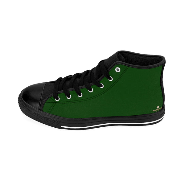 Evergreen Forest Green Solid Color Women's High Top Sneakers Running Shoes-Women's High Top Sneakers-Heidi Kimura Art LLC Green Women's High Top Sneakers, Evergreen Forest Green Solid Color Women's High Top Sneakers Running Shoes (US Size: 6-12) Designed in the USA
