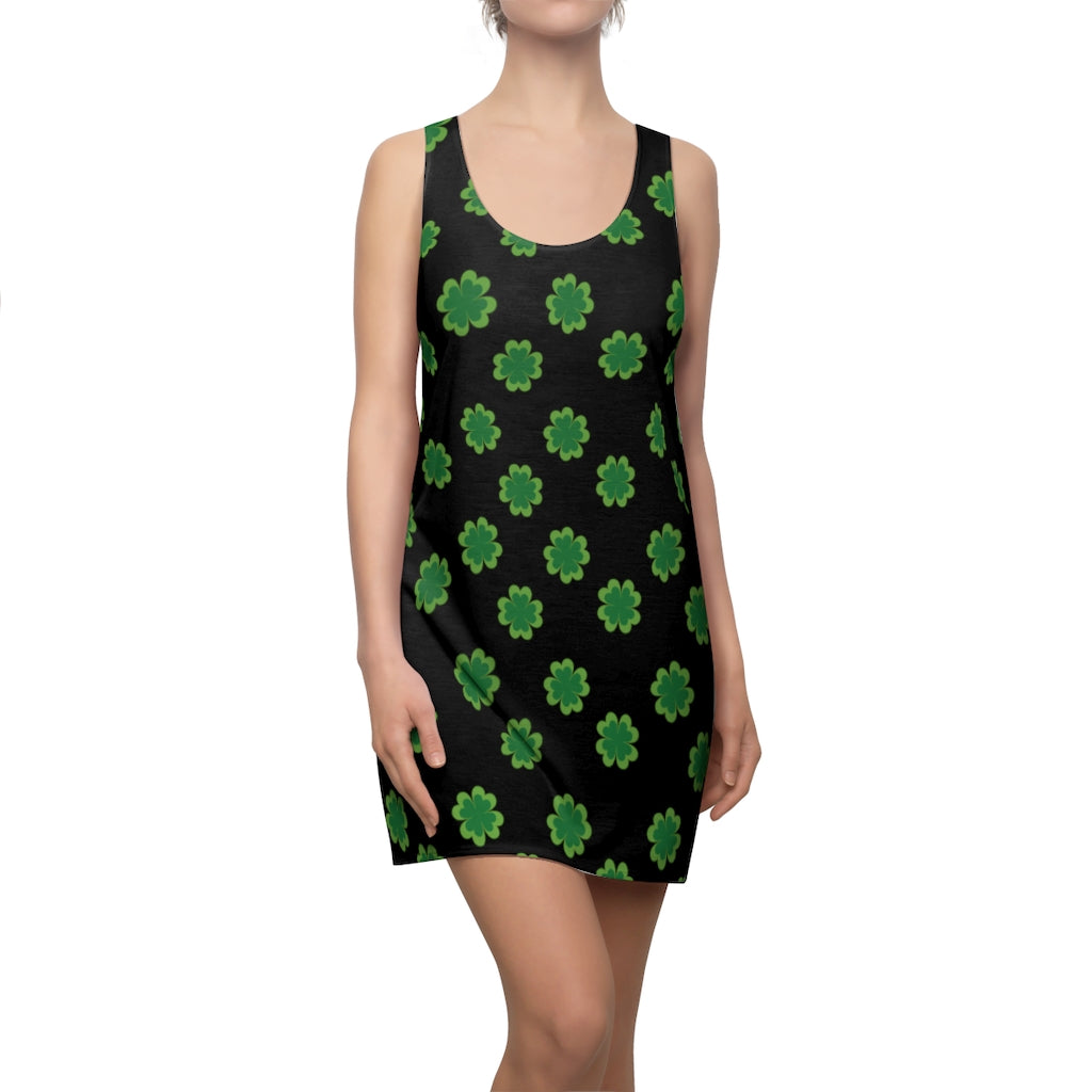 Black Green Clover Dress, Leaf Print St. Patty's Day Women's Racerback Dress-Made in USA-Women's Sleeveless Dress-2XL-Heidi Kimura Art LLC