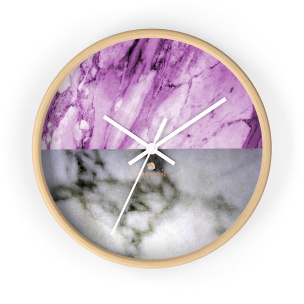 "Pink White Marble Print Art Large Indoor Designer 10"" dia. Wall Clock-Made in USA-Wall Clock-10 in-Wooden-White-Heidi Kimura Art LLC"