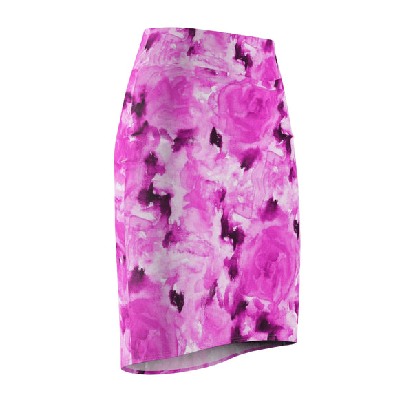 Pink Rose Floral Print Designer Women's Comfy Stretchy Pencil Skirt-Made in USA-Pencil Skirt-Heidi Kimura Art LLC