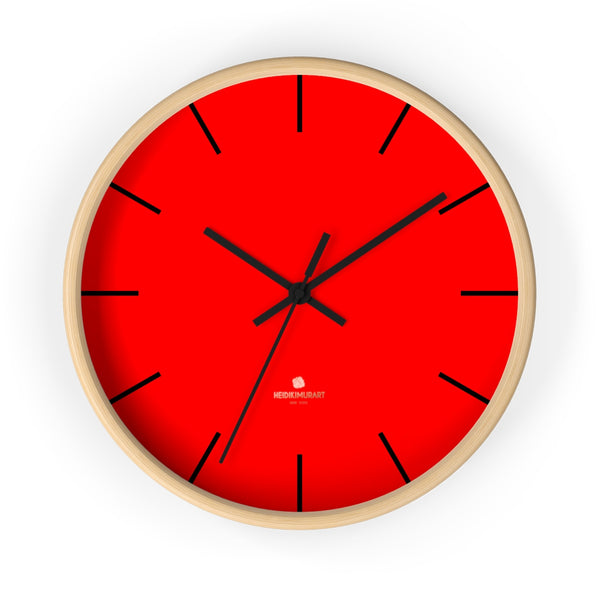 "Solid Bright Red Color Plain Modern 10"" Diameter Large Wall Clock- Made in USA-Wall Clock-10 in-Wooden-Black-Heidi Kimura Art LLC"