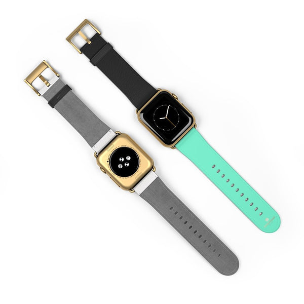 Dual Color Black & Light Blue 38mm/ 42mm Watch Band For Apple Watch- Made in USA-Watch Band-Heidi Kimura Art LLC