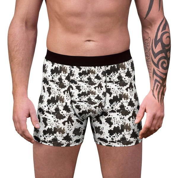 Cow Print Animal Print Men's Boxer Briefs Soft Fleece Lined Underwear-Men's Underwear-Heidi Kimura Art LLC