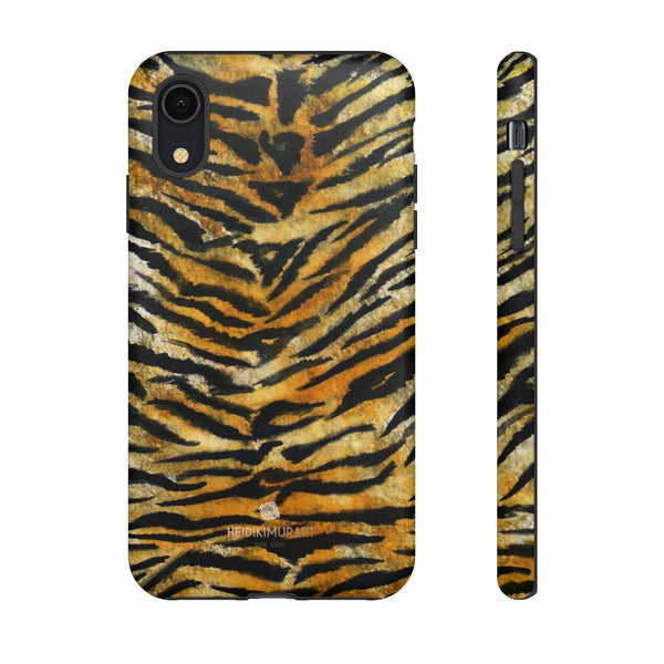 Tiger Stripe Print Phone Case, Animal Print Tough Designer Phone Case -Made in USA-Phone Case-Printify-iPhone XR-Matte-Heidi Kimura Art LLC