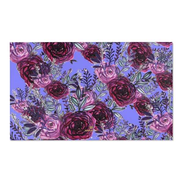"Red Rose Purple Floral Print Designer 24x36, 36x60, 48x72 inches Area Rugs- Printed in the USA-Area Rug-60"" x 36""-Heidi Kimura Art LLC"