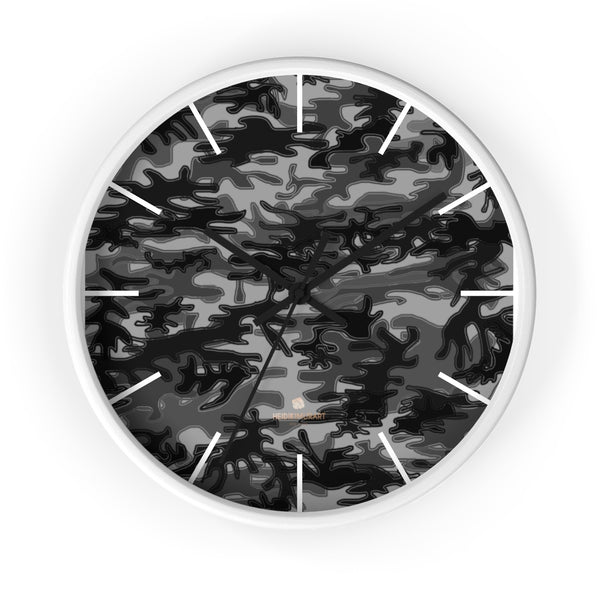 "Gray Camo Camouflage Military Army Print Large Unique 10"" Dia. Wall Clocks- Made in USA-Wall Clock-10 in-White-Black-Heidi Kimura Art LLC"