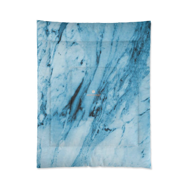 Blue White Marble Print Luxury Designer Best Comforter For King/Queen/Full/Twin-Comforter-68x88-Heidi Kimura Art LLC
