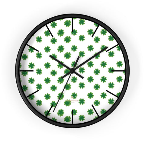 "Green Clover Irish St. Patrick's Day Print Large Unique 10"" Diameter Wall Clocks- Made in USA-Wall Clock-10 in-Black-Black-Heidi Kimura Art LLC"