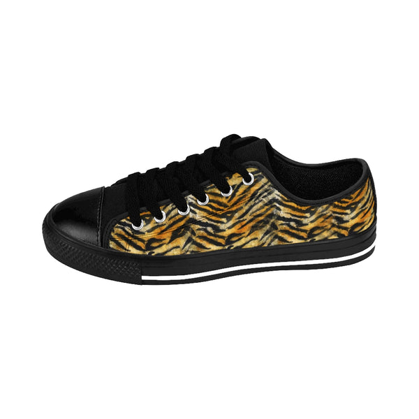 Orange Tiger Striped Men's Low Tops, Animal Print Men's Low Top Sneakers Running Shoes-Men's Low Top Sneakers-Heidi Kimura Art LLC