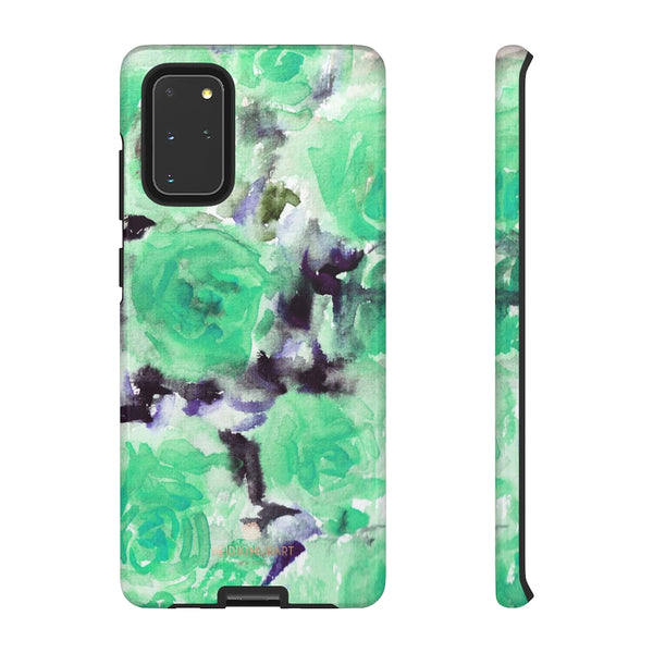 Turquoise Floral Print Tough Cases, Designer Phone Case-Made in USA-Phone Case-Printify-Samsung Galaxy S20+-Glossy-Heidi Kimura Art LLC