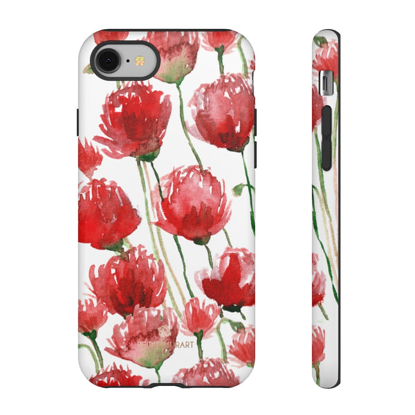 Red Tulips Floral Tough Cases, Roses Flower Print Best Designer Phone Case-Made in USA-Phone Case-Printify-iPhone 8-Matte-Heidi Kimura Art LLC