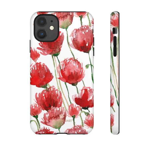 Red Tulips Floral Tough Cases, Roses Flower Print Best Designer Phone Case-Made in USA-Phone Case-Printify-iPhone 11-Matte-Heidi Kimura Art LLC