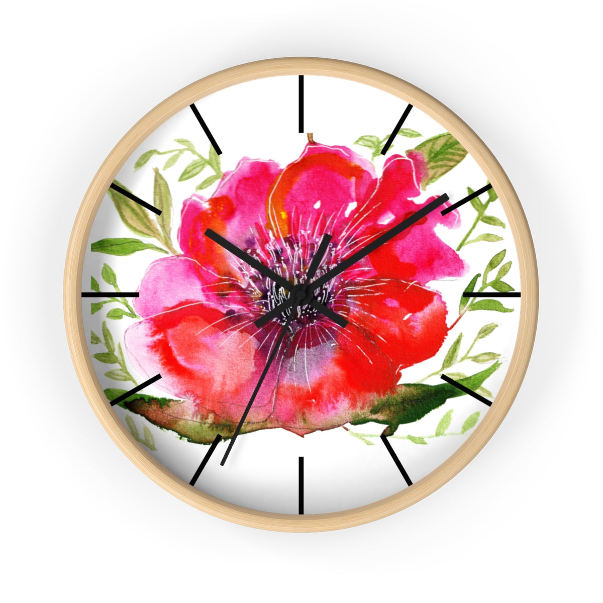 Hinata Hot Pink Hibiscus Floral Print 10 inch Diameter Modern Unique Wall Clock - Made in USA