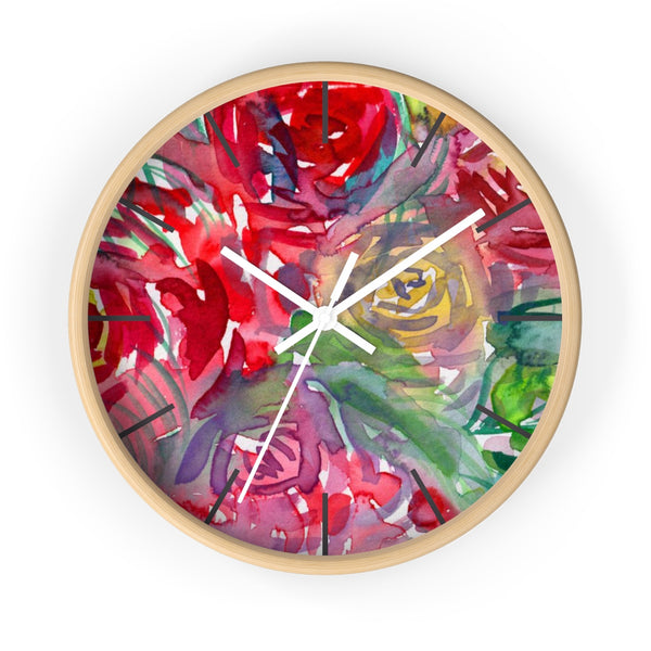 Red Floral Rose Flower Print Elegant 10 inch Diameter Wall Clock - Made in USA-Wall Clock-Wooden-White-Heidi Kimura Art LLC