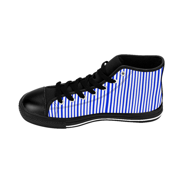 Blue Striped Men's High-top Sneakers, Modern Stripes Men's Designer Tennis Running Shoes-Shoes-Printify-Black-US 9-Heidi Kimura Art LLC Blue Striped Men's High-top Sneakers, Modern Stripes Men's High Tops, High Top Striped Sneakers, Striped Casual Men's High Top For Sale, Fashionable Designer Men's Fashion High Top Sneakers, Tennis Running Shoes (US Size: 6-14)